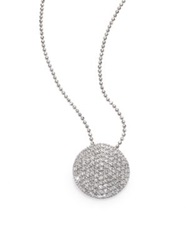Phillips House Pave Diamond And 14K White Gold Infinity Disc Pendant Necklace