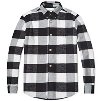 Our Legacy Splash 1950S Button Down Shirt Black And White Flannel Plaid