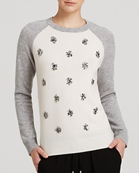 Aqua Cashmere Sweater Jewel Baseball Crewneck