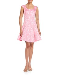 Betsey Johnson Floral Jacquard Fit And Flare Dress Ivory Pink