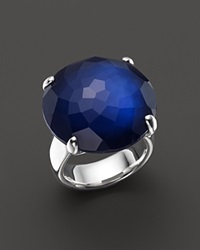 Ippolita Sterling Silver Rock Candy Large Round Stone Ring In Midnight Doublet Blue