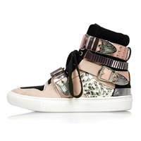 River Island Womens Pink Leather Buckle High Top Trainers