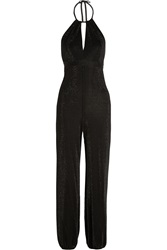 Tamara Mellon Backless Metallic Jersey Jumpsuit