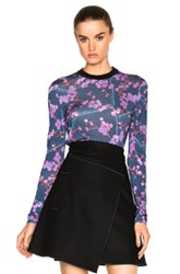 Carven Printed Top In Blue Purple Floral Blue Purple Floral