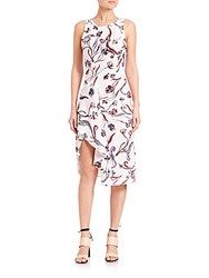 3.1 Phillip Lim Silk Floral Print Dress Lilac Peach