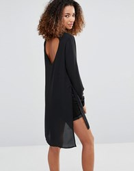 Vero Moda Shirt Dress With Slits And Keyhole Back Black