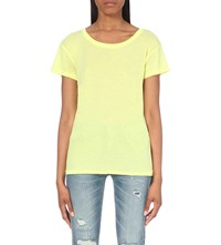 Wildfox Couture Take Me Somewhere Cotton Blend T Shirt Neon Sign Yellow