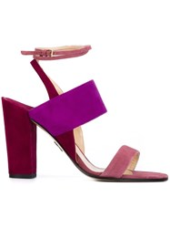 Paul Andrew Chunky Heel Tonal Sandals Pink And Purple