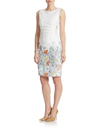 Ivanka Trump Pleated Placed Floral Print Dress Ivory Sunflower