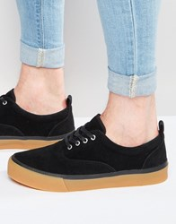 Asos Lace Up Plimsolls In Black With Thick Sole Black