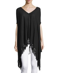 Minnie Rose Cotton V Neck Fringe Poncho Black