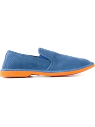 Pollini Perforated Slip On Sneakers Blue