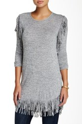 Riller And Fount Long Sleeve Crew Neck Tunic With Fringe Gray