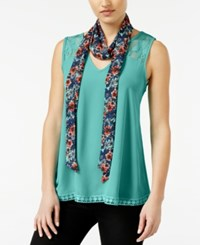 Self Esteem Juniors' 2Fer V Neck Tank With Scarf Deep Mint