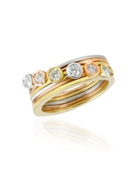 Torrini Bezel Set Diamond Three Tone 18K Gold Stackable Ring Set Of Six