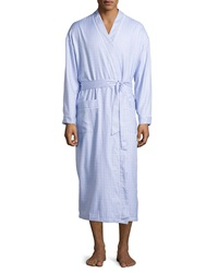 Ike Behar Terry Lined Check Kimono Robe Lake