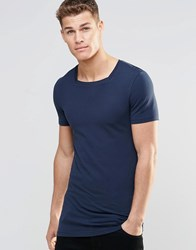Asos Longline Muscle T Shirt With Square Neck In Navy Navy