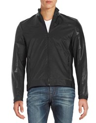 Calvin Klein Faux Leather Paneled Track Jacket Black