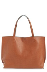 Street Level Reversible Faux Leather Tote And Wristlet Brown Aqua Cognac