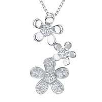 Jools By Jenny Brown Cubic Zirconia 3 Flowers Pendant Necklace Silver