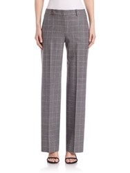 Peserico Virgin Wool Windowpane Trousers Charcoal