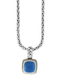 Effy Collection Serenity By Effy Chalcedony Quartz Pendant Necklace 5 Ct. T.W. In Sterling Silver With 18K Gold Accents Blue
