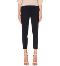 Max Mara Slim Fit Cropped Jersey Trousers Navy