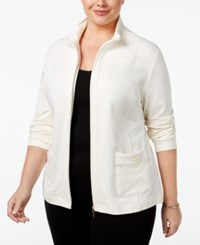 Karen Scott Plus Size Quilted Trim Lounge Jacket Only At Macy's Eggshell