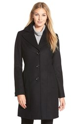 Petite Women's Kristen Blake Single Breasted Wool Blend Coat Black
