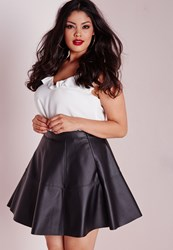 Missguided Plus Size Faux Leather Skater Skirt Black Black