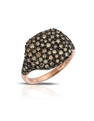 Marco Moore 14K Rose Gold Cognac Diamond Dome Ring Brown