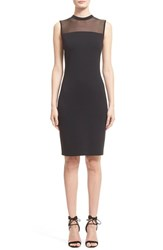 Women's St. John Collection Sheer Yoke Milano Knit Dress