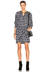 Rag And Bone Jean Tie Dress In Black Checkered Plaid Black Checkered And Plaid