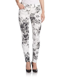 7 For All Mankind Floral Print Skinny Jeans X Ray Floral White
