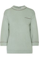 Brunello Cucinelli Bead Embellished Cashmere Sweater Green