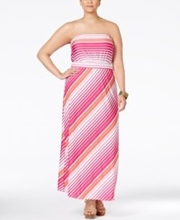 Ny Collection Plus Size Strapless Striped Maxi Dress Coral Beach