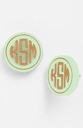Women's Moon And Lola 'Chelsea' Medium Personalized Monogram Stud Earrings Mint Gold Nordstrom Exclusive