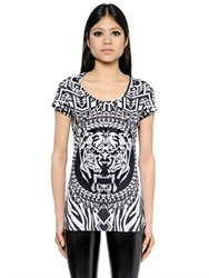 Philipp Plein Embellished Tiger Printed Cotton T Shirt