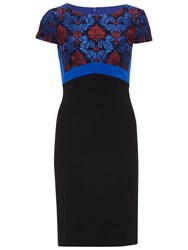Gina Bacconi Crepe And Corded Embroidery Lace Dress Royal Blue