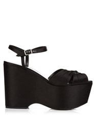 Saint Laurent Knot Front Satin Platform Sandals Black