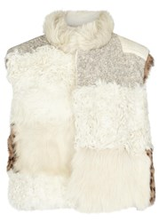 Sea Panelled Shearling And Faux Fur Gilet Multicoloured