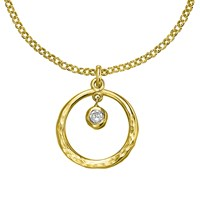 Dower And Hall Open Circle Pendant Gold White Topaz