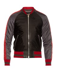 Givenchy Contrast Trim Leather And Nylon Bomber Jacket Black Multi