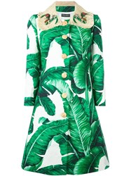 Dolce And Gabbana Banana Leaf Print Brocade Coat Green