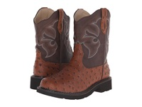 Roper Chunk Rider Light Beige Faux Ostrich Cowboy Boots Brown