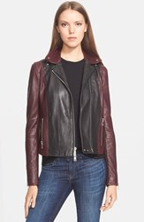 Women's Vince Colorblock Leather Moto Jacket Black Shiraz