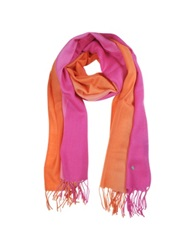 Mila Schon Gradient Fuchsia Coral Wool And Cashmere Stole