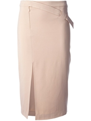 A.L.C. Side Slit Fitted Midi Skirt Pink And Purple