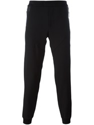 Les Hommes Leather Panel Sweatpants Black