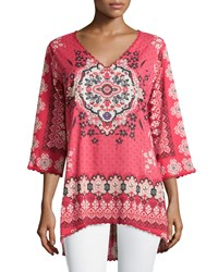 Johnny Was Aurora Printed High Low Tunic Pink Multi